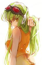1girl adjusting_hair bare_shoulders breasts c.c. code_geass creayus goggles goggles_on_head green_hair gumi gumi_(cosplay) hair_ornament headset large_breasts long_hair looking_at_viewer looking_back megapoid simple_background smile solo twitter_username vocaloid white_background yellow_eyes