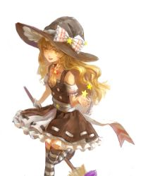 1girl adapted_costume blonde_hair bow braid broom choker frills hair_bow hat hat_bow highres kirisame_marisa leg_up long_hair open_mouth orange_eyes puffy_short_sleeves puffy_sleeves ribbon ribbon_trim sarie_(zyy842434511) sash short_sleeves simple_background sketch solo star striped striped_legwear thighhighs touhou white_background witch_hat zettai_ryouiki