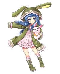 1girl animal_ears animal_hood blue_eyes blue_hair bunny_costume bunny_ears date_a_live hand_puppet hood imyu long_hair puppet solo stuffed_toy yoshino_(date_a_live) yoshinon