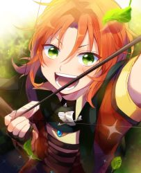1boy alternate_costume badge blush bow_(weapon) drawing_bow ensemble_stars! from_above green_eyes highres leaf male_focus orange_hair radioz smile solo tsukinaga_leo weapon