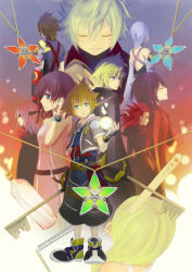 4girls 6+boys akotaman aqua_(kingdom_hearts) armor axel axel_(kingdom_hearts) black_hair blindfold blonde_hair blue_eyes blue_hair brown_hair chain_necklace cloak detached_sleeves eyes_closed facial_mark fingerless_gloves gloves green_eyes highres kairi kairi_(kingdom_hearts) keyblade kingdom_hearts kingdom_hearts_358/2_days kingdom_hearts_birth_by_sleep message_in_a_bottle multiple_boys multiple_girls namine popsicle_stick red_hair riku roxas short_hair sketchbook sora_(kingdom_hearts) terra_(kingdom_hearts) ventus xion_(kingdom_hearts)