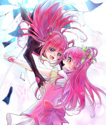 2girls :d aki_(na_uup) black_gloves blush bow crying crying_with_eyes_open cure_dream dark_cure_(yes!_precure_5) dark_dream earrings elbow_gloves eye_contact fingerless_gloves flower gloves hair_flower hair_ornament hair_rings jewelry long_hair looking_at_another magical_girl multiple_girls open_mouth pink_bow pink_hair precure purple_eyes smile tears white_gloves yes!_precure_5 yes!_precure_5_gogo! yumehara_nozomi
