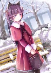 1girl animal_ears bag black_hair cat_ears coat gokou_ruri herunin highres long_hair ore_no_imouto_ga_konna_ni_kawaii_wake_ga_nai purple_eyes