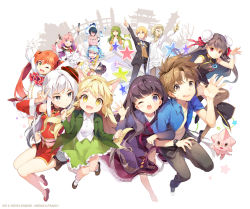 6+girls :d ;d animal_ears antlers barefoot bird_wings blonde_hair blue_hair brown_eyes brown_hair bun_cover character_request china_dress chinese_clothes creature detached_sleeves double_bun dress fang frog gilse green_eyes green_hair grey_eyes hat interlocked_arms jacket jumping mons_panic multiple_boys multiple_girls one_eye_closed open_mouth orange_hair pink_hair pointing purple_eyes red_eyes shirt shoes silver_hair skirt smile star sweatdrop thighhighs twintails v waving wings yellow_eyes