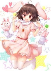 1girl :3 :d absurdres ahoge akakabu_(obsidian910) animal_ears blush breasts brown_hair bunny bunny_ears carrot_necklace clover commentary_request dress folded_leg four-leaf_clover hands_up heart highres inaba_tewi jumping knees_together looking_at_viewer no_shoes open_mouth petticoat pink_dress puffy_short_sleeves puffy_sleeves red_eyes scarf short_dress short_hair short_sleeves small_breasts smile solo star starry_background thighhighs touhou white_background white_legwear white_scarf zettai_ryouiki