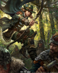 5boys aiming arm_guards armband armor arrow backlighting beard belt_pouch black_boots boots bow_(weapon) brown_hair closed_mouth copyright_name drawing_bow expressionless facial_hair forest fur_collar fur_trim green green_cape green_hat green_jacket green_pants hat hat_feather hat_ornament helmet jacket jumping knee_pads laura_sava long_sleeves male_focus midair mobius_final_fantasy multiple_boys nature open_clothes open_jacket outdoors pants plant pocket polearm pouch realistic robin_hood sheath shirt spear stubble sword tree unsheathing weapon white_shirt