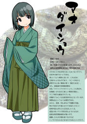 1girl animal black_eyes full_body green_eyes green_hair gujira japanese_clothes kimono long_sleeves looking_at_viewer no_nose personification sandals sash scales short_hair sleeves_past_wrists smile snake socks solo tabi text translation_request white_legwear