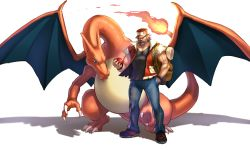 1boy baseball_cap beard black_shirt black_shoes blue_eyes blue_pants bracelet brown_eyes charizard claws collarbone denim facial_hair fangs fantasy fiery_tail full_body hand_in_pocket hat highres holding holding_poke_ball jacket jeans jewelry looking_at_viewer muscle old_man older open_clothes open_jacket pants poke_ball pokemon pokemon_(creature) pokemon_(game) pokemon_gsc red_(pokemon) red_hat red_jacket shirt shoes short_sleeves silver_hair simple_background standing t-shirt teeth white_background yapo_(croquis_side)