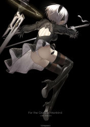 1girl ass black_dress black_gloves black_legwear blindfold boots drag-on_dragoon dress fame_peera gloves hairband high_heel_boots high_heels highres jumping nier_(series) nier_automata panties pantyshot puffy_sleeves short_hair silver_hair sword thighhighs underwear weapon yorha_no._2_type_b