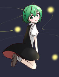 1girl antennae bare_legs green_eyes green_hair kameyan puffy_short_sleeves puffy_sleeves short_sleeves touhou wriggle_nightbug