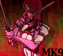 black_hair breasts cleavage mask mileena mortal_kombat sai_(weapon) weapon yellow_eyes