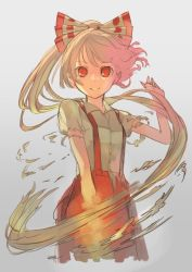 1girl albino alternate_hairstyle colored fujiwara_no_mokou gradient gradient_background grey_background hair_ornament hair_ribbon jpeg_artifacts long_hair looking_at_viewer pants pisoshi ponytail red_eyes ribbon shirt short_sleeves simple_background sketch smile solo torn_clothes torn_sleeves touhou white_hair
