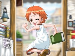 1girl ;p blush book brown_eyes child dress female holding holding_book ichibit looking_at_viewer looking_back nami_(one_piece) one_eye_closed one_piece orange_hair running sandals shoes short_hair smile solo tongue tongue_out wink
