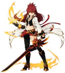 1girl artist_request asymmetrical_clothes black_boots black_legwear boots bracelet coat elesis elsword fingerless_gloves fire gloves jewelry knee_boots long_hair official_art pyrokinesis red_eyes red_hair single_pantsleg single_thighhigh smile solo standing sword thighhighs weapon white_background