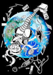 1girl american_flag_legwear black_background blush bottle cameltoe condom_wrapper earth egg_vibrator eraser fang hade_na_kangofu hair_brush highres long_hair monochrome open_mouth panties partially_colored pen pleated_skirt school_uniform serafuku simple_background skirt solo space_helmet thighhighs twintails underwear upside-down upskirt vibrator