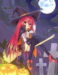 1girl bat broom cape full_moon grave halloween hat jack-o'-lantern long_hair moon ohlia red_eyes red_hair riding shakugan_no_shana shana thighhighs witch_hat