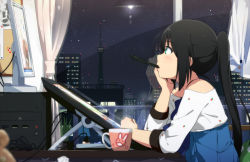 1girl aqua_eyes black_hair blurry blush chin_rest city_lights cityscape computer computer_screen cup curtains depth_of_field drawing_board indoors kotatsu lens_flare long_hair looking_away monitor mouth_hold night ogipote original pen ponytail profile reflection shirt sitting sky skyline solo star_(sky) starry_sky stylus table tablet tablet_pc very_long_hair window