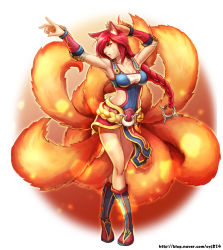 1girl ahri alternate_costume alternate_hair_color animal_ears armpits bangs braid breasts cleavage collarbone facial_mark fox_ears fox_tail foxfire_ahri highres large_breasts league_of_legends long_hair multiple_tails red_hair single_braid solo tail whisker_markings yellow_eyes