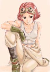 1girl abs biceps green_eyes highres koutetsujou_no_kabaneri midriff muscle muscular_female official_art pink_hair short_hair solo tank_top yukina_(kabaneri)