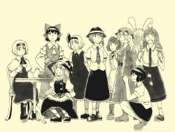 6+girls alice_margatroid animal_ears apron ascot bell blazer bow braid bunny_ears camera capelet checkered cup detached_sleeves dress frog frog_hair_ornament gohei green_hair hair_bell hair_bow hair_ornament hair_tubes hairband hakurei_reimu hat kirisame_marisa kochiya_sanae konpaku_youmu long_hair maribel_hearn maruhachi_(maruhachi_record) monochrome motoori_kosuzu multiple_girls mushroom necktie open_mouth pointy_ears reisen_udongein_inaba ribbon shameimaru_aya short_hair skirt smile snake snake_hair_ornament squatting teacup teapot tokin_hat touhou twintails usami_renko witch_hat