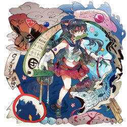 1girl asymmetrical_legwear belt black_hair boots breasts cannon cherry_blossoms cloud flight_deck frog garter_straps gloves hairband high_ponytail highres invocation itomugi-kun kantai_collection long_hair long_ponytail machinery marble midriff mouth_hold necktie petals pleated_skirt ponytail red_eyes ripples road_sign school_uniform scroll scrunchie serafuku shoukaku_(kantai_collection) sidelocks sign single_thighhigh skirt slug smoke smokestack snail snake standing_on_one_leg thighhighs turret water waves white_gloves yahagi_(kantai_collection)