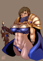 1girl abs armor blue_eyes breasts brown_background brown_hair cape dated garen_crownguard genderswap gloves keikihei large_breasts league_of_legends mole muscle navel shoulder_pads signature simple_background sword warrior weapon