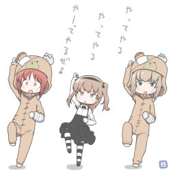 3girls :d adachi_fumio333 alternate_costume animal_costume arm_up bandage bandaged_arm bangs bear_costume blue_eyes blush boko_(girls_und_panzer) boko_(girls_und_panzer)_(cosplay) bow bowtie brown_eyes brown_hair commentary_request cosplay full_body girls_und_panzer hair_ribbon hairband itsumi_erika leg_up long_hair long_sleeves looking_at_viewer multiple_girls nishizumi_miho open_mouth ribbon shimada_arisu short_hair side_ponytail smile standing standing_on_one_leg striped striped_legwear sweatdrop translation_request triangle_mouth