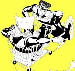 2boys bread food gakuran higashikata_jousuke jojo_no_kimyou_na_bouken male monochrome multiple_boys nijimura_okuyasu pompadour school_uniform shikkoku_no_notto shopping_cart smoke