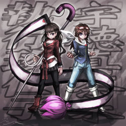 2girls ankle_boots artist_name black_hair blue_eyes boots breasts brown_hair character_name choker cleavage clenched_hands denim fighting_stance glasses_on_head gloves heart high_heel_boots high_heels highres jeans knee_boots long_hair looking_at_viewer multiple_girls pants pantyhose pleated_skirt pose purple_eyes ray-k safety_pin scarf shigyou_kuniko signature sketch skirt sunglasses sunglasses_on_head the_rolling_girls utoku_masami