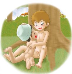 2boys absurdres ass blonde_hair blush brown_hair cloud digimon erection foreskin grass hida_iori male mitsui_jun multiple_boys nude outdoors penis short_hair shota sitting sky takaishi_takeru testicles tree uncensored yaoi