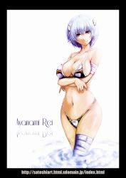 1girl alternate_breast_size ayanami_rei bandaged_leg bikini blue_hair breast_hold breasts character_name cleavage hairpods highres large_breasts looking_at_viewer navel neon_genesis_evangelion red_eyes skimpy skindentation smile solo swimsuit wading watermark web_address wide_hips yamada_satoshi