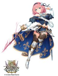 1girl artist_request bangs bare_shoulders belt blue_eyes blush brave_girl_ravens breasts character_request copyright_name detached_sleeves full_body hair_ornament hairband highres holding holding_weapon juliet_sleeves large_breasts logo long_sleeves midriff navel overskirt pink_hair pleated_skirt puffy_sleeves rapier short_hair simple_background skirt smile solo sword thighhighs weapon white_background zettai_ryouiki