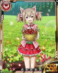 1girl animal_ears bow brown_eyes brown_hair card_(medium) cat_ears cat_tail food fruit holding layered_skirt looking_at_viewer matching_hair/eyes open_mouth red_bow red_skirt short_hair silica silica_(sao-alo) skirt solo sword_art_online tail tail_bow