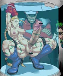 1girl 2boys abs aonozakura_aruto arms_up blonde_hair blush boots cammy_white capcom captured colored empty_eyes erect_nipples erection futa_with_male futanari highres indoors inverted_nipples mikoyan multiple_boys muscle nipples nude open_mouth penis pussy squatting street_fighter testicles vega veins veiny_penis