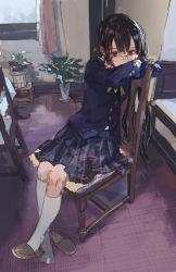 1girl arm_rest black_hair blazer blue_eyes chair crossed_arms glasses kneehighs looking_at_viewer original red-framed_glasses school_uniform shirabi_(life-is-free) single_shoe sitting sketch skirt solo white_legwear