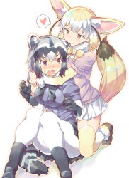 2girls animal_ears biting blush bow bowtie breasts ear_biting fennec_(kemono_friends) fox_ears fox_tail full_body fur_collar gloves gradient_hair half-closed_eyes hear highres hug hug_from_behind kemono_friends kneeling multicolored_hair multiple_girls open_mouth pantyhose raccoon_(kemono_friends) raccoon_ears raccoon_tail short_hair short_sleeves sitting skirt sweatdrop tail takano_itsuki tears thighhighs thought_bubble two-tone_hair wavy_mouth white_legwear yuri