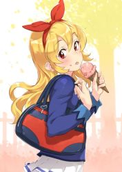1girl aikatsu! bag blazer blonde_hair hair_ribbon hairband hoshimiya_ichigo ice_cream_cone jacket long_hair looking_at_viewer neo-masterpeacer red_eyes ribbon school_bag skirt solo