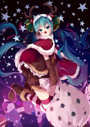 1girl animal_costume antlers aqua_hair bell boots cape christmas detached_sleeves green_eyes hair_bell hair_ornament hatsune_miku kneeling long_hair night red_nose reindeer_antlers reindeer_costume sack shuzi solo star striped striped_legwear thighhighs twintails very_long_hair vocaloid