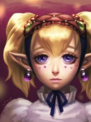 1girl agitha bellhenge blonde_hair blue_eyes earrings eyelashes gem hairband highres jewelry lips lipstick lolita_fashion lolita_hairband long_hair looking_at_viewer makeup nose pointy_ears rupee short_twintails solo the_legend_of_zelda twilight_princess twintails zelda_musou