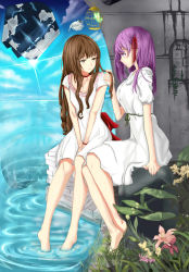 2girls artist_request birdcage breasts brown_eyes brown_hair butterfly cage character_request dress fate/extella fate/extra fate_(series) highres large_breasts matou_sakura multiple_girls playing_with_another's_hair purple_eyes purple_hair soaking_feet yuri