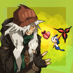 1boy az_(pokemon) beanie fingerless_gloves floette flower gloves hair_over_one_eye hat heart key necklace nintendo no_humans pokemon pokemon_(game) pokemon_xy ribbon smile spoilers very_long_hair white_hair