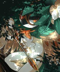 ajikan_(sabamiso) arrow decidueye feathered_wings feathers hood leaf no_humans pokemon pokemon_(creature) pokemon_(game) pokemon_sm solo tree wings yellow_eyes