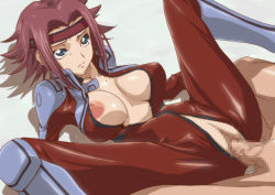 1girl areolae blue_eyes bodysuit breasts censored clothed_female_nude_male code_geass hairband highres kallen_stadtfeld kyabakurabakufu large_breasts legs looking_away lying mosaic_censoring nipples no_bra no_panties open_clothes penis pussy red_hair sex short_hair solo_focus spread_legs sweat thighs vaginal