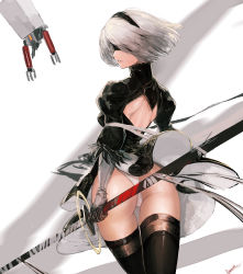 1girl ass bamuth blindfold feather_trim gloves highres medium_hair nier_(series) nier_automata panties pod_(nier_automata) profile robot shoulder_blades skindentation sword thighhighs underwear weapon wind yorha_no._2_type_b