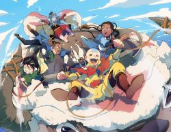 2girls 3boys aang animal appa avatar:_the_last_airbender avatar_(series) bald barefoot black_hair blind blue_eyes blue_sky brown_eyes brown_hair burn_scar cloud dark_skin feet flying grey_eyes katara looking_at_another momo_(avatar) multiple_boys multiple_girls open_mouth riding sky smile sokka t_k_g tattoo toph_bei_fong water yellow_eyes zuko