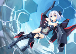 1girl absurdres aoi_kao_(lsz7106) armpits blue_eyes breasts cleavage date_a_live dual_wielding elbow_gloves gloves gun highres holding holding_gun holding_weapon leotard mecha_musume medium_breasts navel see-through short_hair silver_hair solo strapless strapless_leotard tobiichi_origami weapon