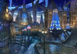 bridge building city city_lights cityscape cloud dark fantasy lamppost light_particles magic night no_humans original ox_(baallore) river scenery sky stained_glass stairs water waterfall