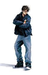 1boy bespectacled black_hair blue_jacket brown_hair crossed_arms denim denim_jacket glasses jacket jeans jojo_no_kimyou_na_bouken joseph_joestar_(young) kurenai_karasu pants shoes sneakers solo