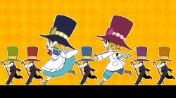 1girl androgynous black_pants black_shoes black_vest blonde_hair bloomers blue_dress blue_eyes blue_hat blue_shorts boots bow bowtie brown_boots cande chasing coattails collared_shirt diamond_(shape) dress from_side green_hat hand_on_headwear hands_up hat hat_bow hat_ribbon holding kagamine_len kagamine_rin long_sleeves looking_at_another low_ponytail necktie open_mouth orange_hat outstretched_arms oversized_clothes pants pantyhose pocket puffy_short_sleeves puffy_sleeves purple_bow purple_hat red_bow red_bowtie red_hat ribbon running shade shirt shoes short_hair short_ponytail short_sleeves shorts striped striped_ribbon top_hat underwear vocaloid white_apron white_shirt yellow_background yellow_bow yellow_necktie yoshiki