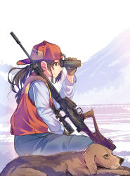 1girl animal arm_up backwards_hat baseball_cap battle_rifle between_legs binoculars blue_pants brown_eyes brown_fur brown_gloves brown_hair closed_mouth clothes_writing daito denim dog expressionless from_side fur gloves gun hand_between_legs hat holding jeans long_sleeves looking_afar original pants profile red_hat red_vest rifle scope shirt sitting sniper sniper_rifle solo vest weapon weapon_request white_shirt